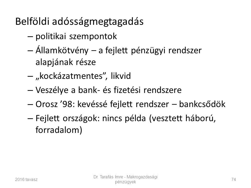 """Belföldi adósságmegtagadás – politikai szempontok – Államkötvény – a fejlett pénzügyi rendszer alapjának része – """"kockázatmentes , likvid – Veszélye a bank- és fizetési rendszere – Orosz '98: kevéssé fejlett rendszer – bankcsődök – Fejlett országok: nincs példa (vesztett háború, forradalom) 2016 tavasz Dr."""