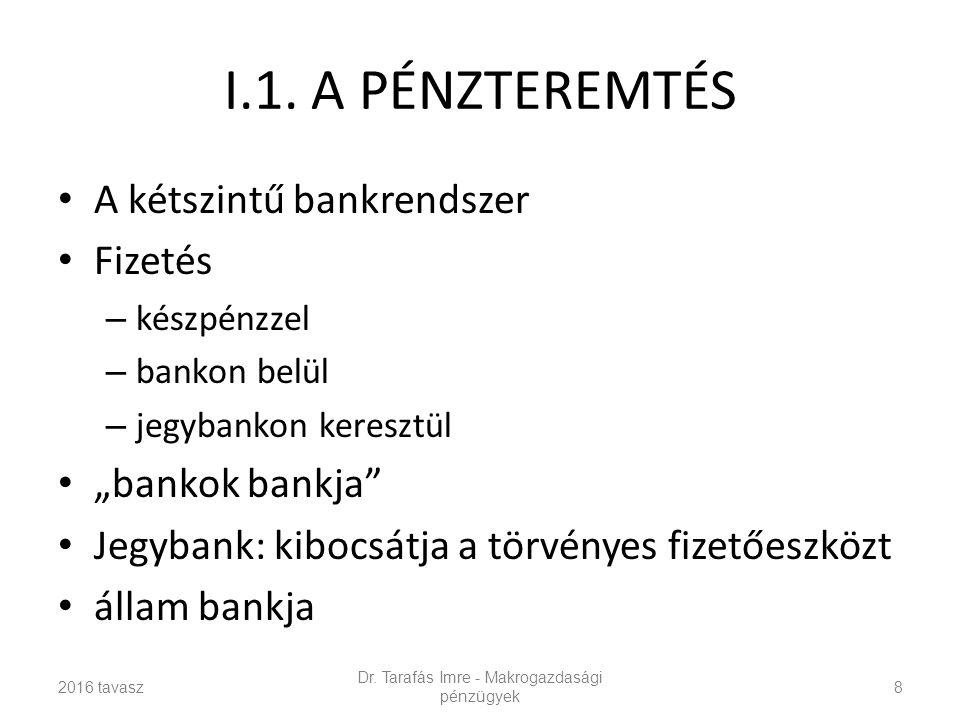 """I.1. A PÉNZTEREMTÉS A kétszintű bankrendszer Fizetés – készpénzzel – bankon belül – jegybankon keresztül """"bankok bankja"""" Jegybank: kibocsátja a törvén"""