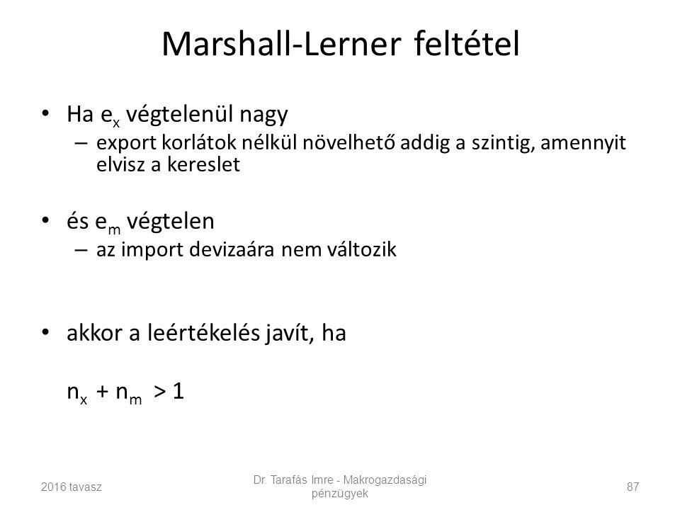 Marshall-Lerner feltétel Ha e x végtelenül nagy – export korlátok nélkül növelhető addig a szintig, amennyit elvisz a kereslet és e m végtelen – az import devizaára nem változik akkor a leértékelés javít, ha n x + n m > 1 Dr.