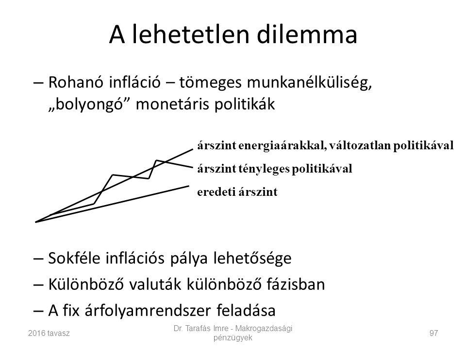 """A lehetetlen dilemma – Rohanó infláció – tömeges munkanélküliség, """"bolyongó monetáris politikák – Sokféle inflációs pálya lehetősége – Különböző valuták különböző fázisban – A fix árfolyamrendszer feladása Dr."""