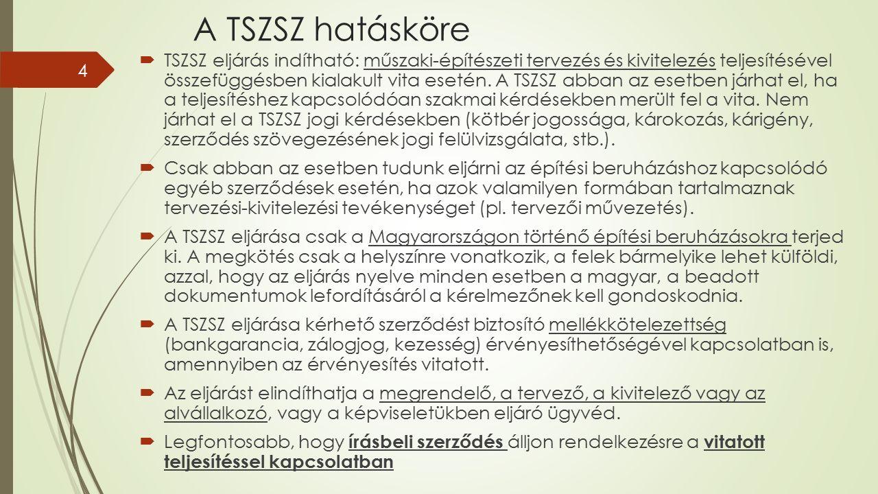 A TSZSZ hatásköre  TSZSZ eljárás indítható: műszaki-építészeti tervezés és kivitelezés teljesítésével összefüggésben kialakult vita esetén.