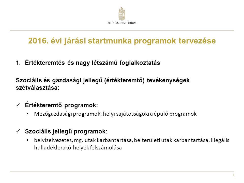4 2016. évi járási startmunka programok tervezése 1.Értékteremtés és nagy létszámú foglalkoztatás Szociális és gazdasági jellegű (értékteremtő) tevéke