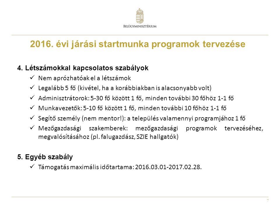 7 2016. évi járási startmunka programok tervezése 4.