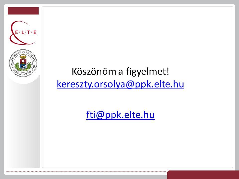Köszönöm a figyelmet! kereszty.orsolya@ppk.elte.hu kereszty.orsolya@ppk.elte.hu fti@ppk.elte.hu