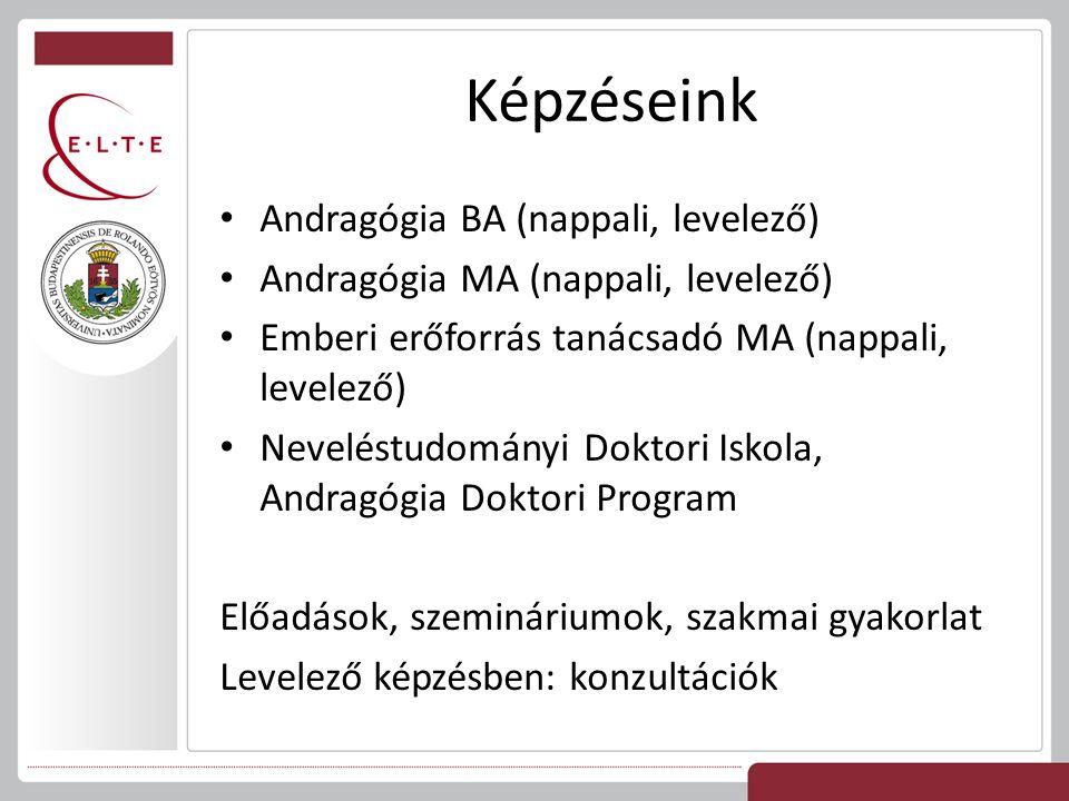 Képzéseink Andragógia BA (nappali, levelező) Andragógia MA (nappali, levelező) Emberi erőforrás tanácsadó MA (nappali, levelező) Neveléstudományi Dokt