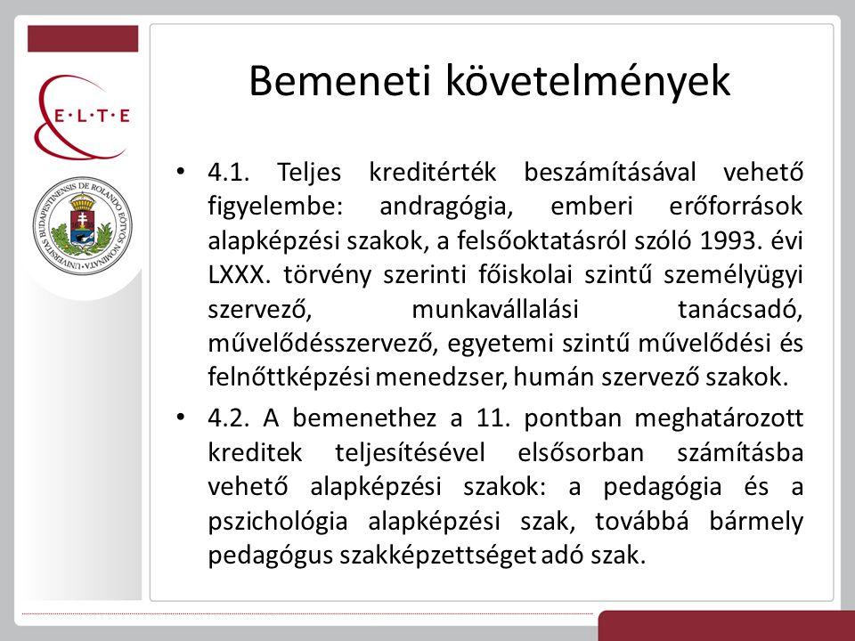 Bemeneti követelmények 4.1. Teljes kreditérték beszámításával vehető figyelembe: andragógia, emberi erőforrások alapképzési szakok, a felsőoktatásról