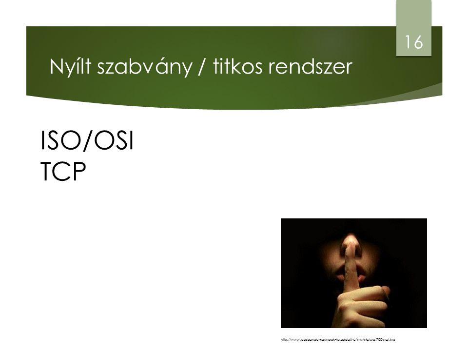 Nyílt szabvány / titkos rendszer ISO/OSI TCP 16 http://www.laosbanelomagyarok-hu.eoldal.hu/img/picture/700/pszt.jpg