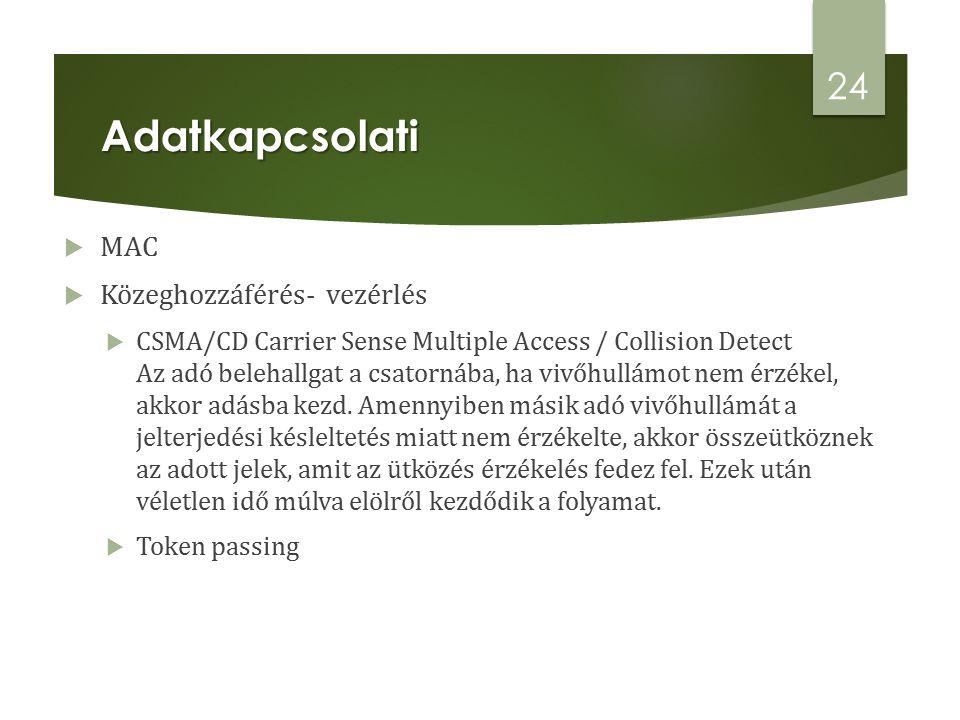  MAC  Közeghozzáférés- vezérlés  CSMA/CD Carrier Sense Multiple Access / Collision Detect Az adó belehallgat a csatornába, ha vivőhullámot nem érzékel, akkor adásba kezd.