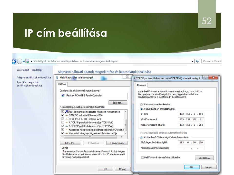 IP cím beállítása 52