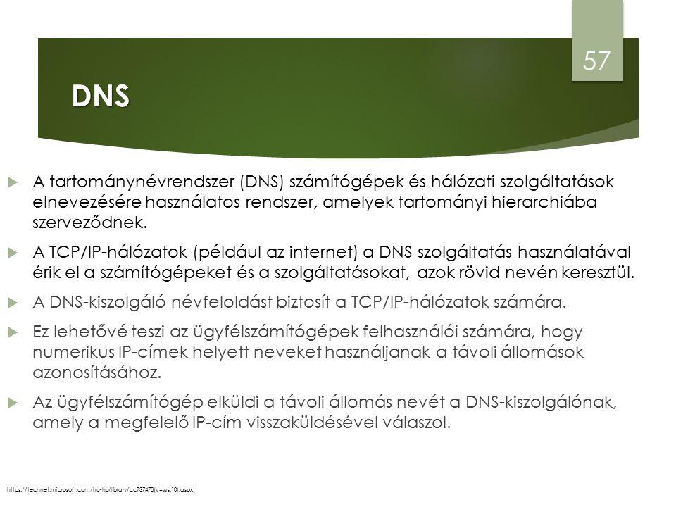 DNS 57 https://technet.microsoft.com/hu-hu/library/cc737478(v=ws.10).aspx  A tartománynévrendszer (DNS) számítógépek és hálózati szolgáltatások elnevezésére használatos rendszer, amelyek tartományi hierarchiába szerveződnek.