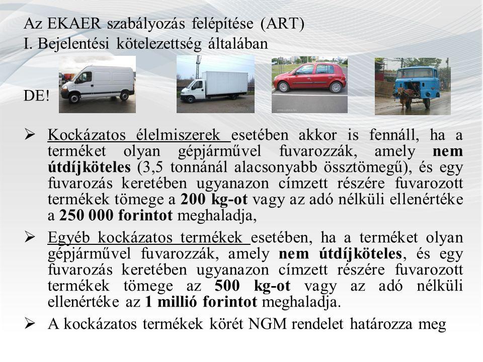 Az EKAER szabályozás felépítése (ART) I. Bejelentési kötelezettség általában DE.