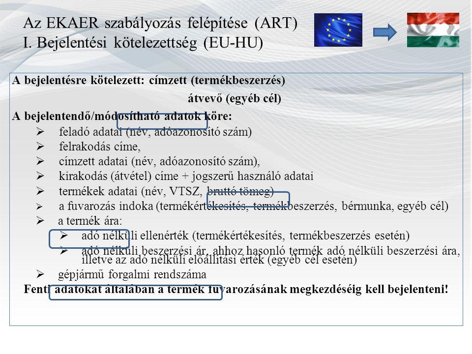 Az EKAER szabályozás felépítése (ART) I. Bejelentési kötelezettség (EU-HU) A bejelentésre kötelezett: címzett (termékbeszerzés) átvevő (egyéb cél) A b