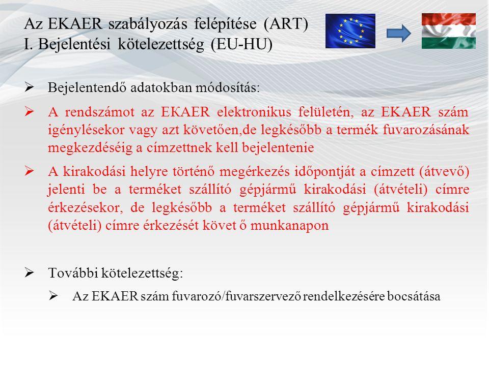 Az EKAER szabályozás felépítése (ART) I. Bejelentési kötelezettség (EU-HU)  Bejelentendő adatokban módosítás:  A rendszámot az ЕКАЕR elektronikus fe