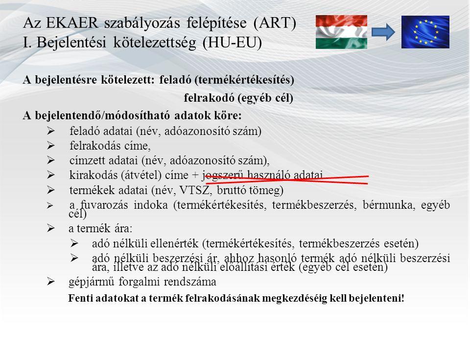 Az EKAER szabályozás felépítése (ART) I. Bejelentési kötelezettség (HU-EU) A bejelentésre kötelezett: feladó (termékértékesítés) felrakodó (egyéb cél)