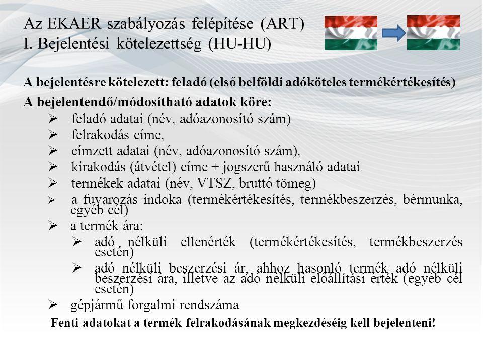 Az EKAER szabályozás felépítése (ART) I. Bejelentési kötelezettség (HU-HU) A bejelentésre kötelezett: feladó (első belföldi adóköteles termékértékesít