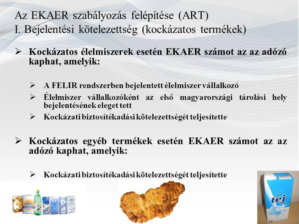 Az EKAER szabályozás felépítése (ART) I. Bejelentési kötelezettség (kockázatos termékek)  Kockázatos élelmiszerek esetén EKAER számot az az adózó kap