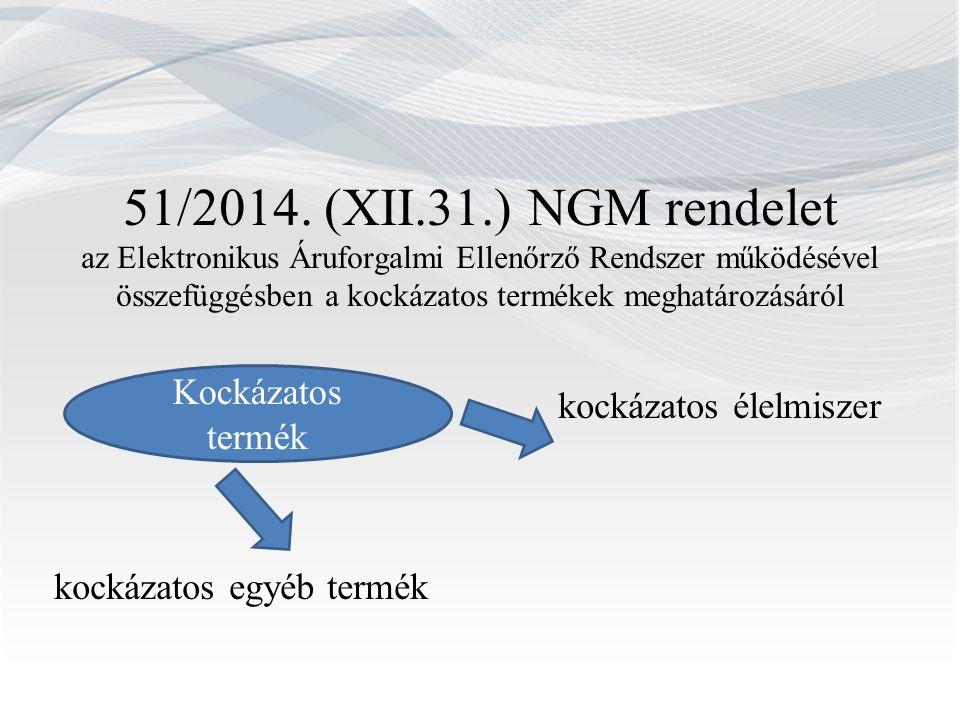 51/2014. (XII.31.) NGM rendelet az Elektronikus Áruforgalmi Ellenőrző Rendszer működésével összefüggésben a kockázatos termékek meghatározásáról kocká