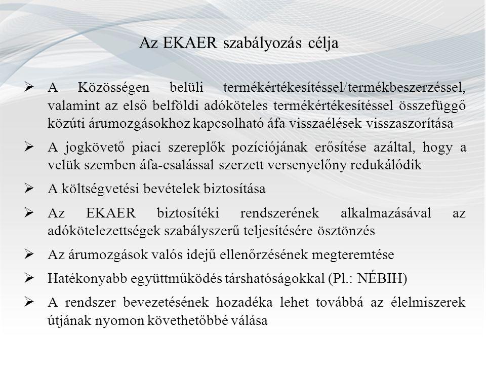 Az EKAER szabályozás célja  A Közösségen belüli termékértékesítéssel/termékbeszerzéssel, valamint az első belföldi adóköteles termékértékesítéssel ös