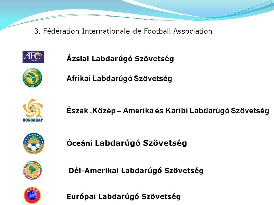 3. Fédération Internationale de Football Association Afrikai Labdarúgó Szövetség Óceáni Labdarúgó Szövetség Ázsiai Labdarúgó Szövetség Európai Labdarú