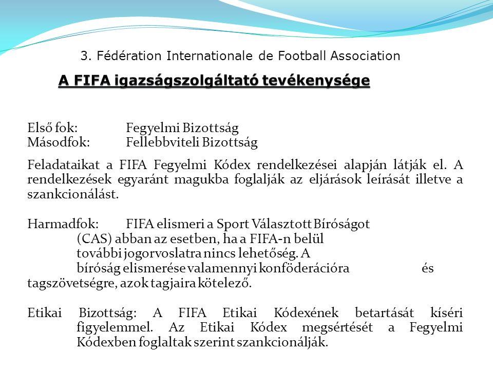 3. Fédération Internationale de Football Association Első fok:Fegyelmi Bizottság Másodfok:Fellebbviteli Bizottság Feladataikat a FIFA Fegyelmi Kódex r