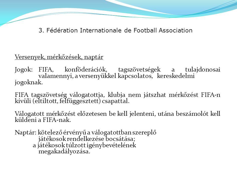 3. Fédération Internationale de Football Association Versenyek, mérkőzések, naptár Jogok:FIFA, konföderációk, tagszövetségek a tulajdonosai valamennyi