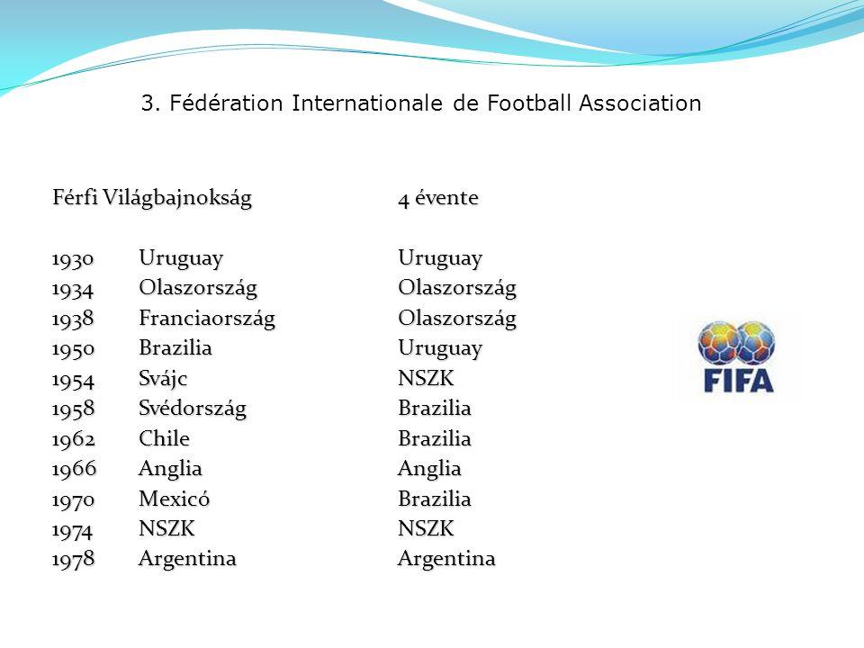3. Fédération Internationale de Football Association Férfi Világbajnokság 4 évente 1930UruguayUruguay 1934OlaszországOlaszország 1938FranciaországOlas