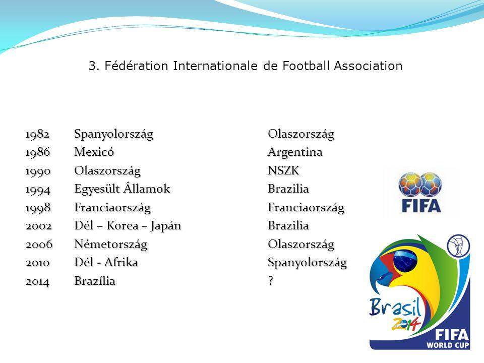 3. Fédération Internationale de Football Association 1982Spanyolország Olaszország 1986MexicóArgentina 1990OlaszországNSZK 1994Egyesült ÁllamokBrazili