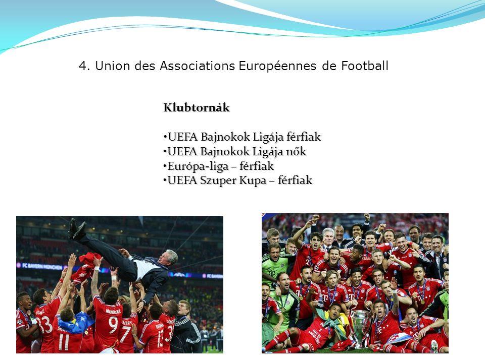 4. Union des Associations Européennes de Football Klubtornák UEFA Bajnokok Ligája férfiakUEFA Bajnokok Ligája férfiak UEFA Bajnokok Ligája nőkUEFA Baj