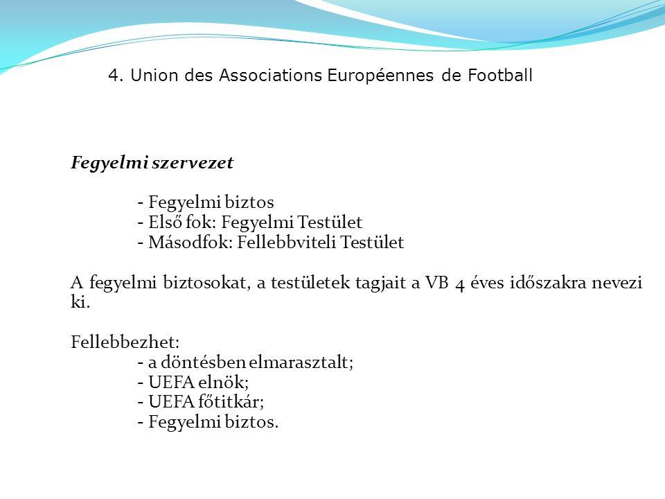 4. Union des Associations Européennes de Football Fegyelmi szervezet - Fegyelmi biztos - Első fok: Fegyelmi Testület - Másodfok: Fellebbviteli Testüle