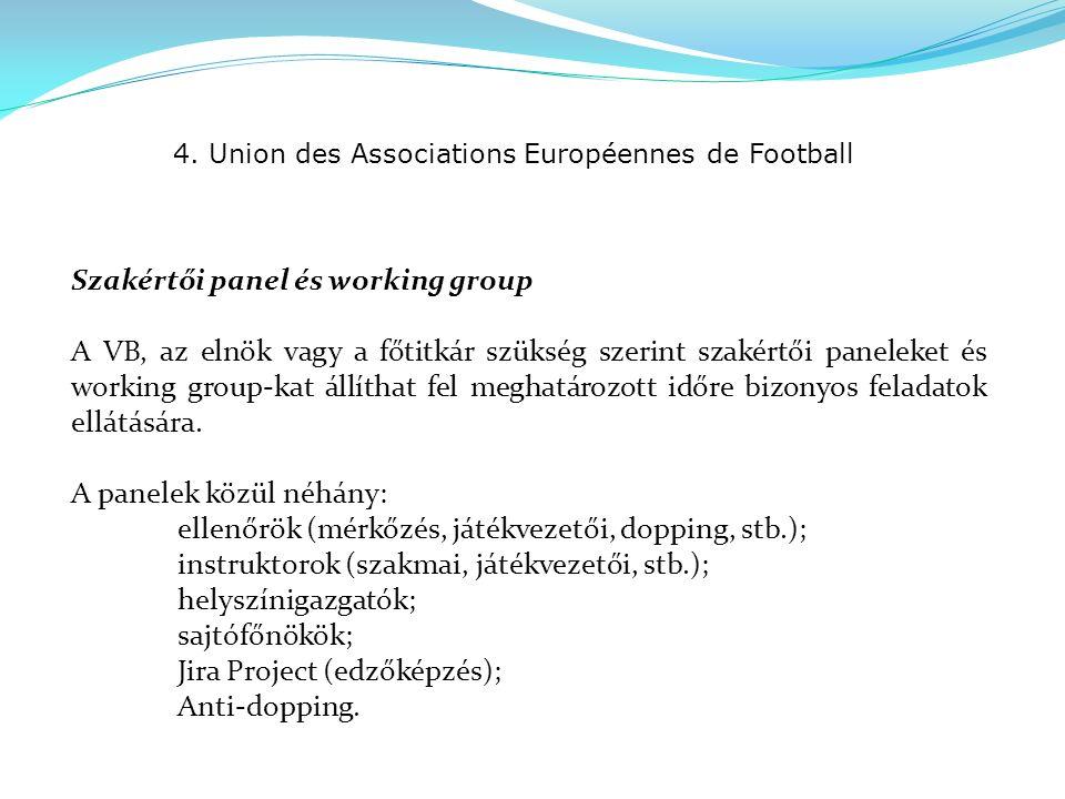 4. Union des Associations Européennes de Football Szakértői panel és working group A VB, az elnök vagy a főtitkár szükség szerint szakértői paneleket