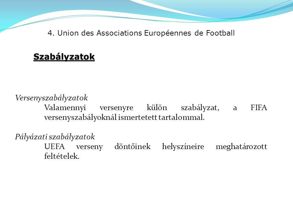 4. Union des Associations Européennes de Football Versenyszabályzatok Valamennyi versenyre külön szabályzat, a FIFA versenyszabályoknál ismertetett ta