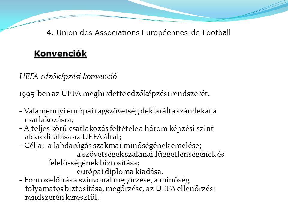 4. Union des Associations Européennes de Football UEFA edzőképzési konvenció 1995-ben az UEFA meghirdette edzőképzési rendszerét. - Valamennyi európai