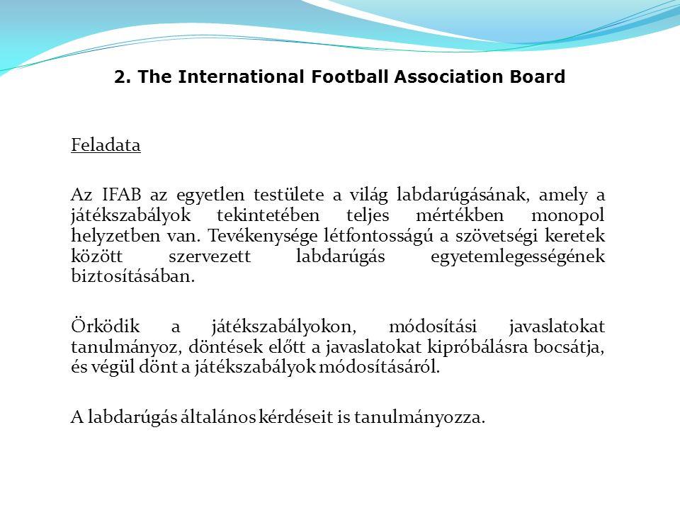 2. The International Football Association Board Feladata Az IFAB az egyetlen testülete a világ labdarúgásának, amely a játékszabályok tekintetében tel