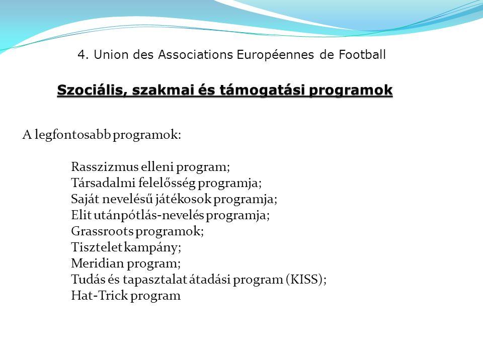 4. Union des Associations Européennes de Football A legfontosabb programok: Rasszizmus elleni program; Társadalmi felelősség programja; Saját nevelésű