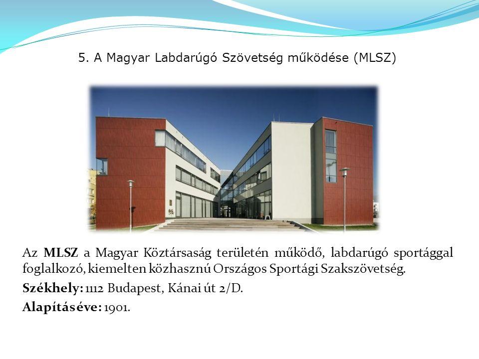5. A Magyar Labdarúgó Szövetség működése (MLSZ) Az MLSZ a Magyar Köztársaság területén működő, labdarúgó sportággal foglalkozó, kiemelten közhasznú Or