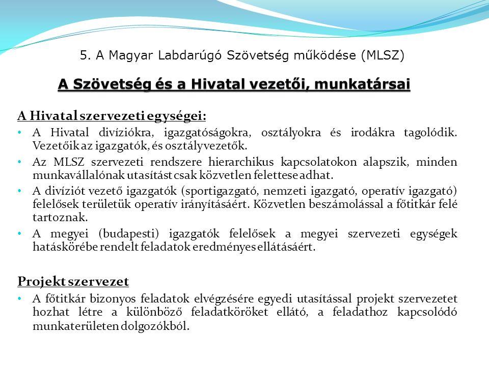 5. A Magyar Labdarúgó Szövetség működése (MLSZ) A Hivatal szervezeti egységei: A Hivatal divíziókra, igazgatóságokra, osztályokra és irodákra tagolódi