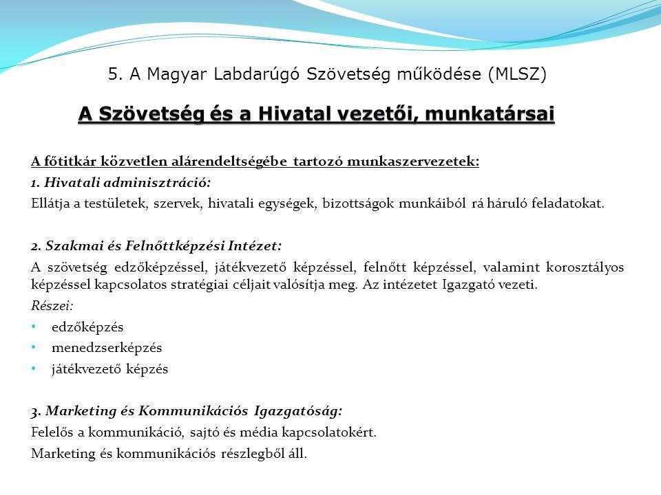 5. A Magyar Labdarúgó Szövetség működése (MLSZ) A főtitkár közvetlen alárendeltségébe tartozó munkaszervezetek: 1. Hivatali adminisztráció: Ellátja a
