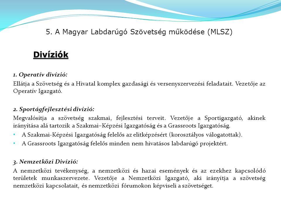 5. A Magyar Labdarúgó Szövetség működése (MLSZ) 1.