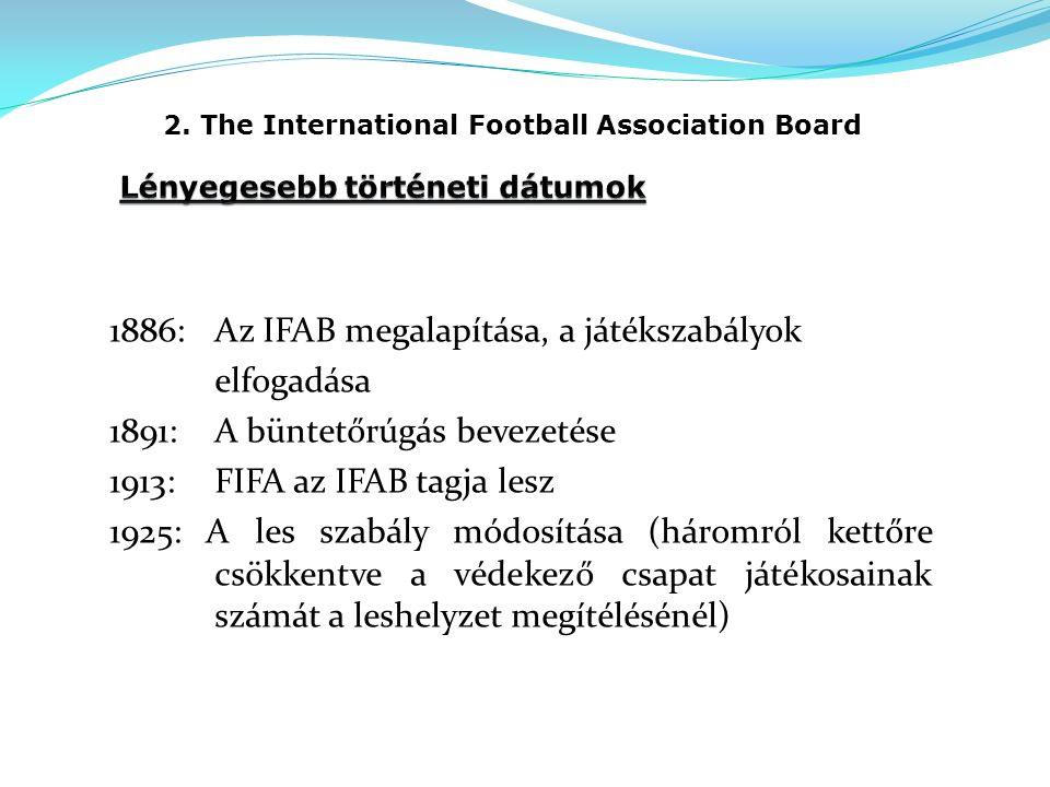 2. The International Football Association Board 1886:Az IFAB megalapítása, a játékszabályok elfogadása 1891:A büntetőrúgás bevezetése 1913:FIFA az IFA