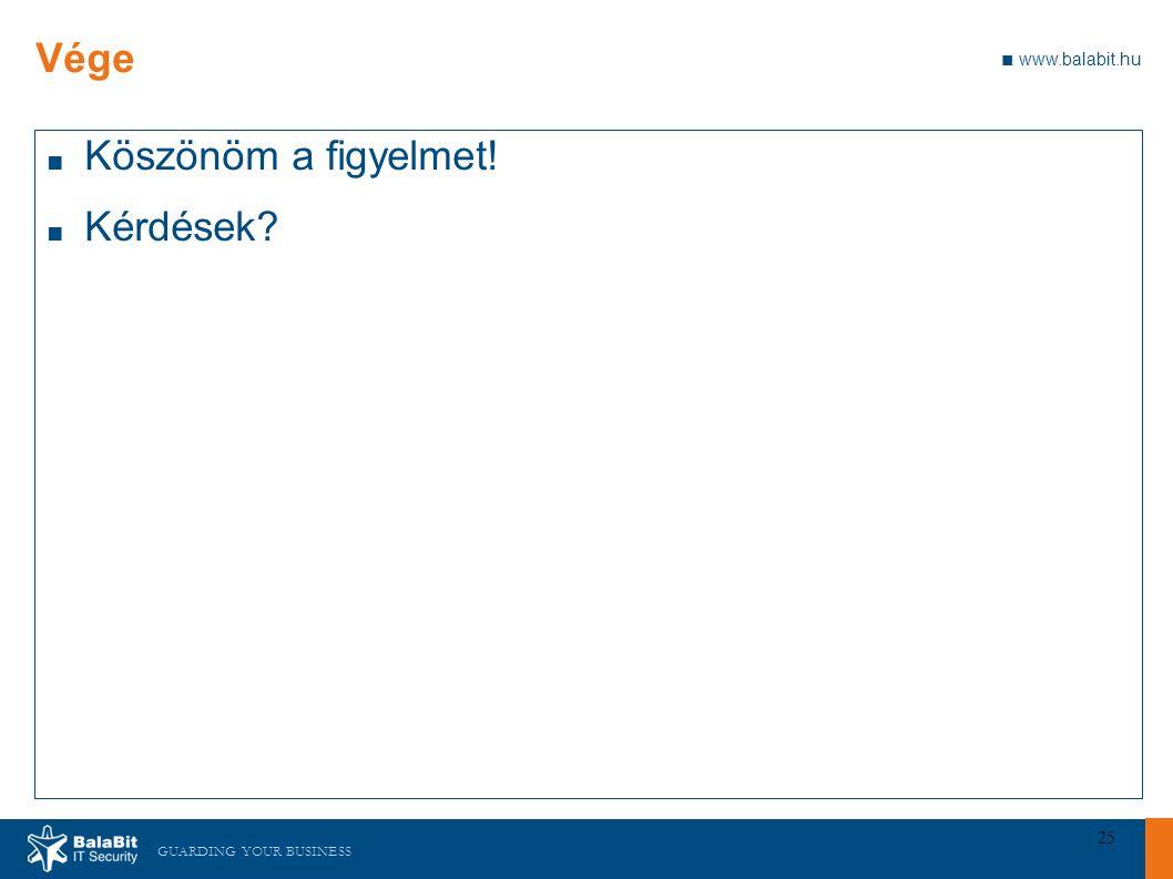 GUARDING YOUR BUSINESS ■ www.balabit.hu 25 Vége ■ Köszönöm a figyelmet! ■ Kérdések?