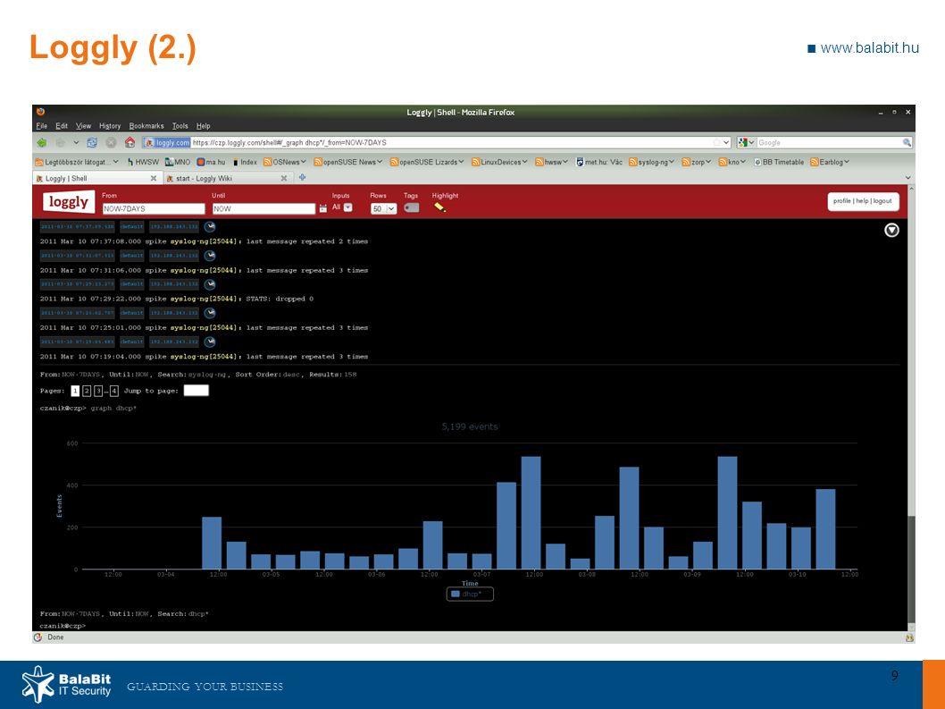 GUARDING YOUR BUSINESS ■ www.balabit.hu 10 Loggly (3.) ■ Függőségek, telepítés, konfigurálás: □ Helyben nincs mit telepíteni ■ URL: http://www.loggly.com/http://www.loggly.com/ ■ Blog: http://czanik.blogs.balabit.com/2011/03/logging-to- the-cloud/http://czanik.blogs.balabit.com/2011/03/logging-to- the-cloud/