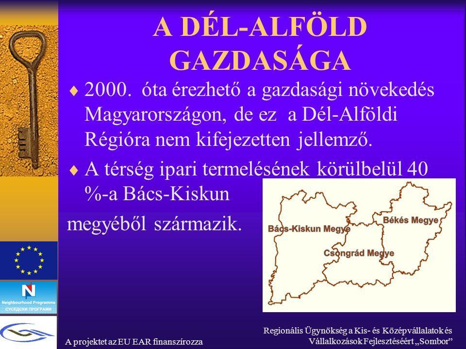 """A projektet az EU EAR finanszírozza Regionális Ügynökség a Kis- és Középvállalatok és Vállalkozások Fejlesztéséért """"Sombor A DÉL-ALFÖLD GAZDASÁGA  2000."""