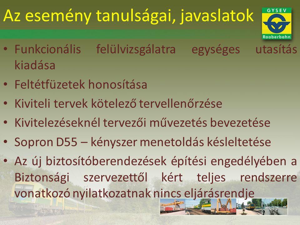 Funkcionális felülvizsgálatra egységes utasítás kiadása Feltétfüzetek honosítása Kiviteli tervek kötelező tervellenőrzése Kivitelezéseknél tervezői művezetés bevezetése Sopron D55 – kényszer menetoldás késleltetése Az új biztosítóberendezések építési engedélyében a Biztonsági szervezettől kért teljes rendszerre vonatkozó nyilatkozatnak nincs eljárásrendje Az esemény tanulságai, javaslatok