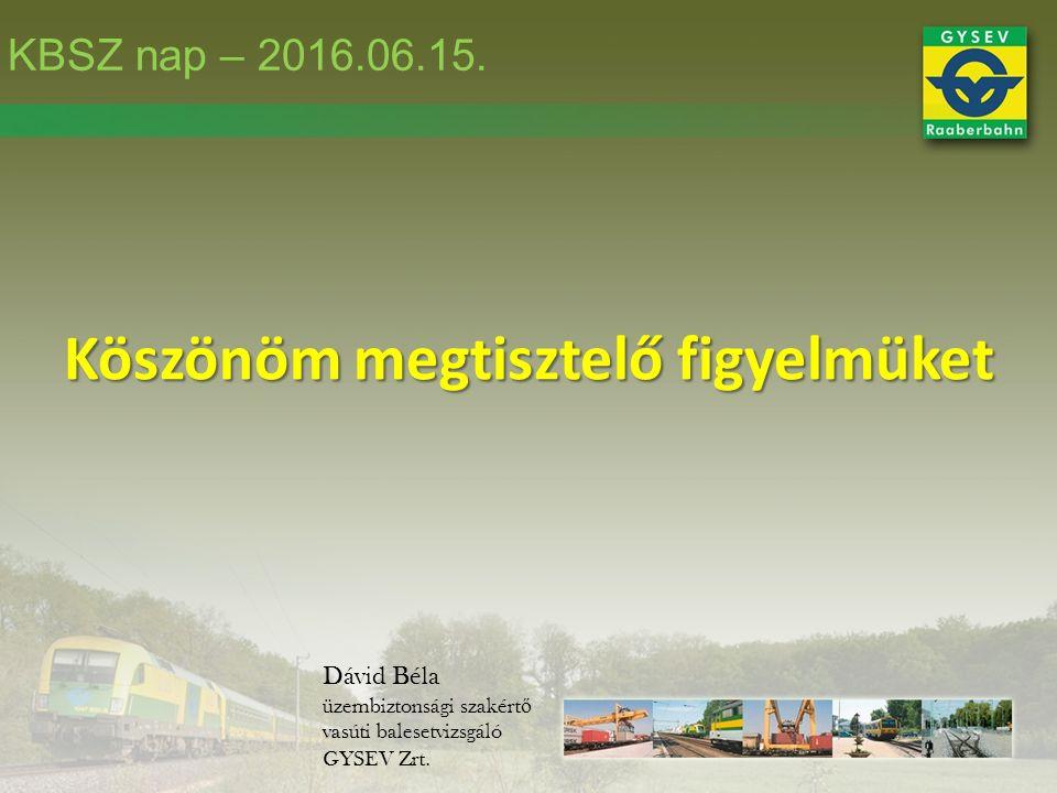 Köszönöm megtisztelő figyelmüket Dávid Béla üzembiztonsági szakért ő vasúti balesetvizsgáló GYSEV Zrt.