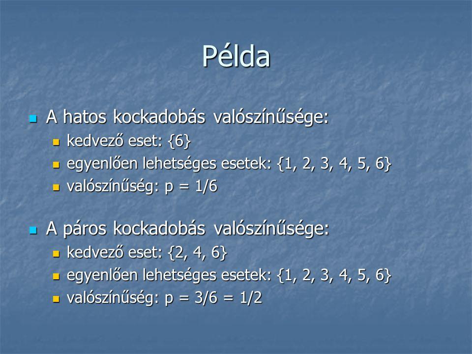 Példa A hatos kockadobás valószínűsége: A hatos kockadobás valószínűsége: kedvező eset: {6} kedvező eset: {6} egyenlően lehetséges esetek: {1, 2, 3, 4, 5, 6} egyenlően lehetséges esetek: {1, 2, 3, 4, 5, 6} valószínűség: p = 1/6 valószínűség: p = 1/6 A páros kockadobás valószínűsége: A páros kockadobás valószínűsége: kedvező eset: {2, 4, 6} kedvező eset: {2, 4, 6} egyenlően lehetséges esetek: {1, 2, 3, 4, 5, 6} egyenlően lehetséges esetek: {1, 2, 3, 4, 5, 6} valószínűség: p = 3/6 = 1/2 valószínűség: p = 3/6 = 1/2