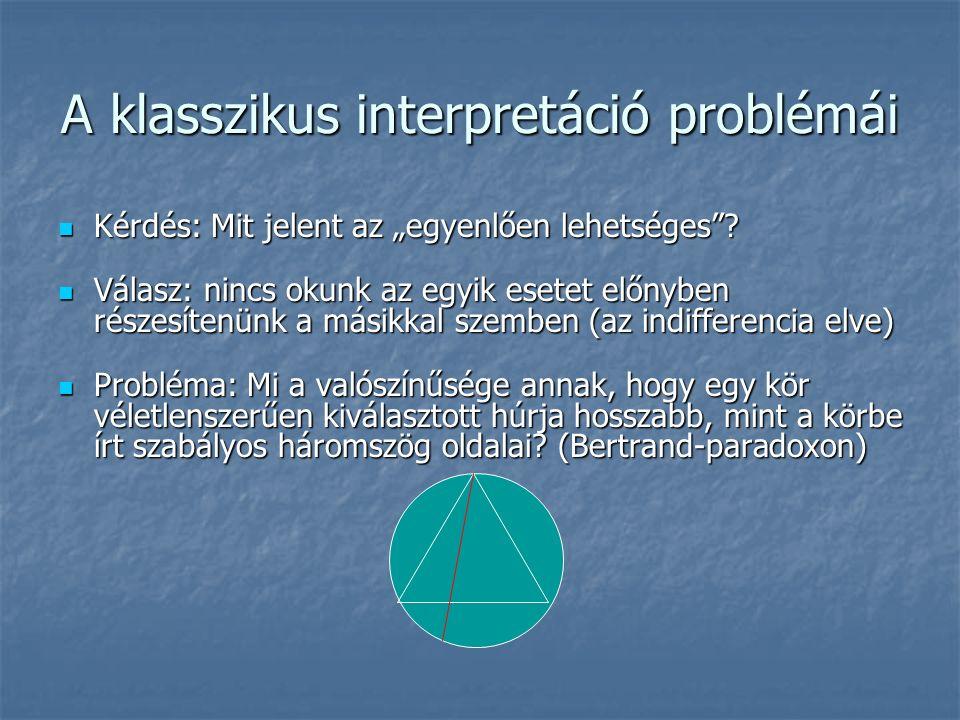 """A klasszikus interpretáció problémái Kérdés: Mit jelent az """"egyenlően lehetséges ."""