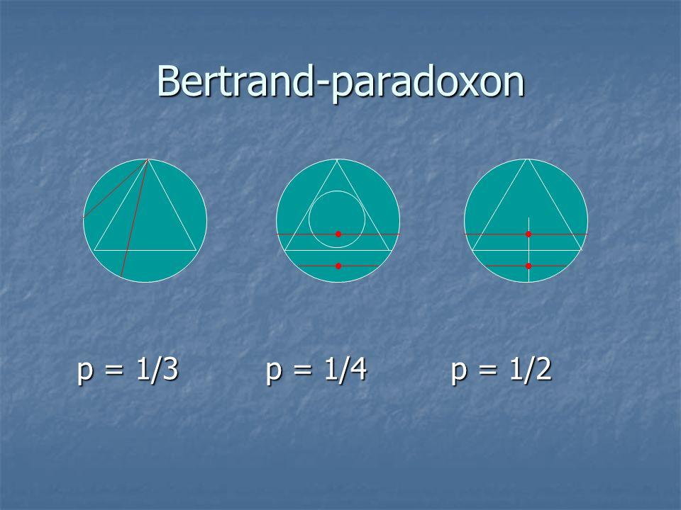 Bertrand-paradoxon p = 1/3 p = 1/4 p = 1/2 p = 1/3 p = 1/4 p = 1/2