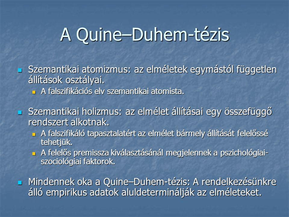 A Quine–Duhem-tézis Szemantikai atomizmus: az elméletek egymástól független állítások osztályai.