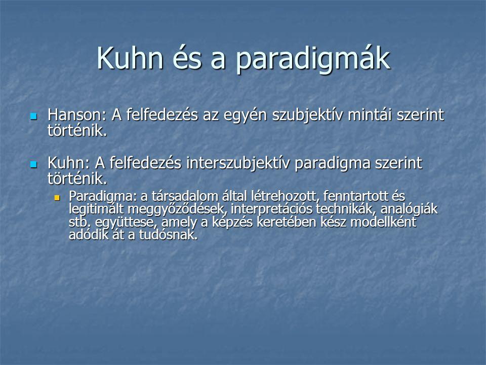 Kuhn és a paradigmák Hanson: A felfedezés az egyén szubjektív mintái szerint történik.