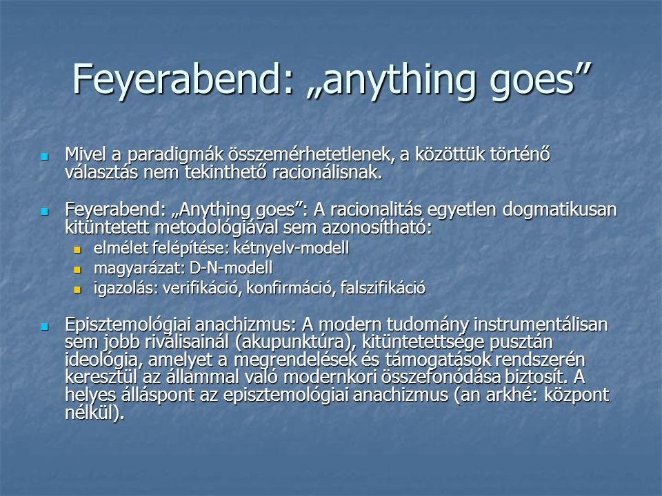 """Feyerabend: """"anything goes Mivel a paradigmák összemérhetetlenek, a közöttük történő választás nem tekinthető racionálisnak."""
